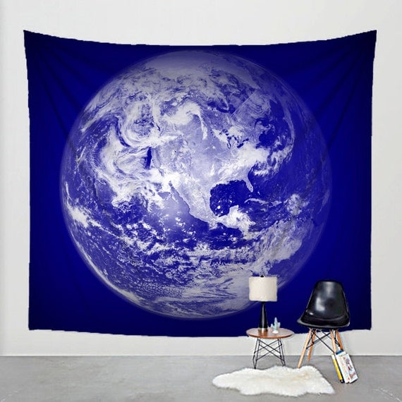 Items similar to wall tapestry planet earth globe fabric for Planet print fabric