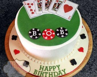 Fondant Poker Topper Set (Decoration only, cake not included!)