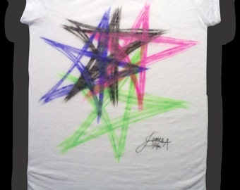 Airbrushed Star Design T-Shirt or Hoodie Adult sizes