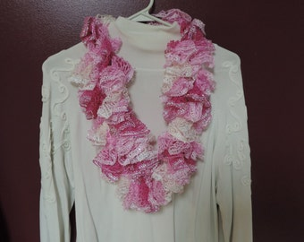Hand crocheted pink and white sassy infinity scarf