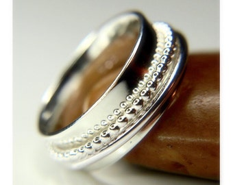 Spinner ring, Sterling silver Beaded ring - wide band ring, meditation ring