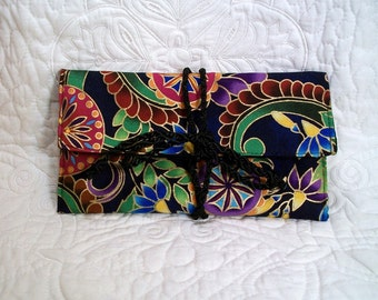 Envelope pouch, jewelry storage, great for travel, foldover pouch, storage for cosmetic brushes, foldover wallet, lots of uses.