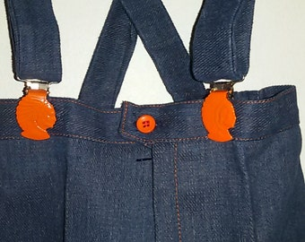 Jean straps Indian Chief head / French Vintage 60's 70's / size 2-3 years old /Stock nine