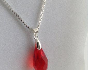 Swarovski SALE - Rocking Red ~ Swarovski Briolet and 925 Sterling Silver Box Necklace