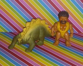 Vintage 1980s Playskool Definitely Dinosaurs (Caveman and Dino) Lot #2