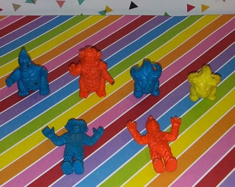 Vintage lot of 5 Japanese Import Mini Rubber Keshi Godzilla Figures