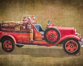 Fire Truck Wall,  Fire Truck Decor, Fire Truck Print, Boys Room Decor, Custom Name, Fire Truck Wall Art, Vintage Fire truck, Vintage Print