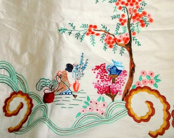 Beautiful Vintage Embroidered Cotton Panel • Asian scenes • 94 X 68 inches