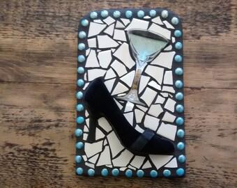 black shoe mosaic