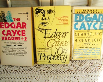3 Vintage Edgar Cayce Prophecy Channeling Reader #2 Healing Trance Reading Books 60s 80s Paperbacks