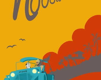 Noosa Moke Retro Graphic Art Piece Sunshine Coast, Australia