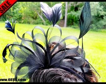 RUSH ORDER--Priority-Handmade BlackFeather Fascinator,Unique Feather Headband,Derby Fascinator,Kentucky Derby Fascinator,Tea Party Hat