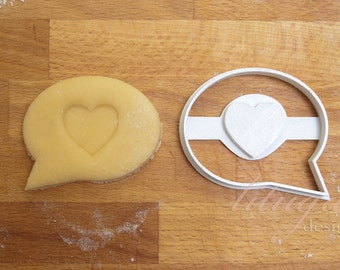 """Speech bubble cookie cutter - """"with heart"""" but also can be personalised"""
