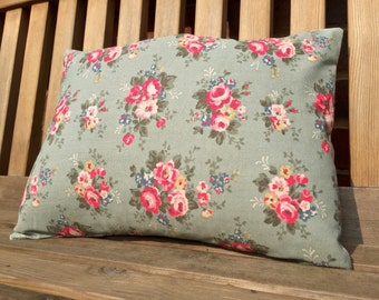 Cath Kidston green floral fabric cushion