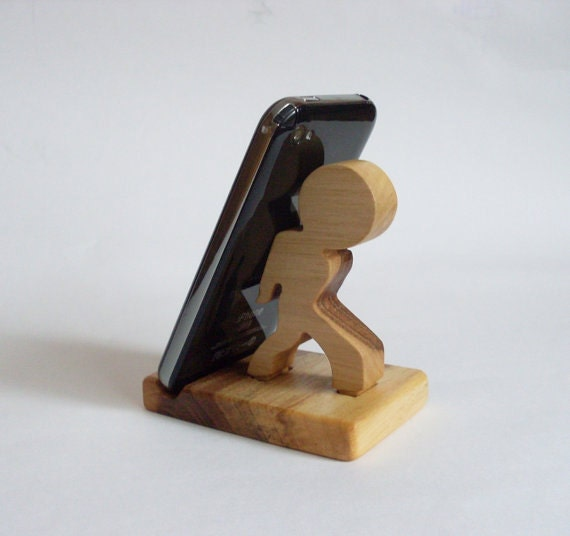 Wooden phone stand man desktop holder