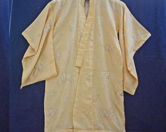 Unusual Vintage Child Japanese silk embroidered kimono with padded hem