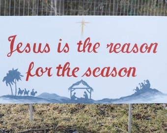 Christmas lawn signs and stakes Jesus and Grinch