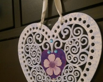 Blue Flower Love Heart-Double Sided With Gem Detail