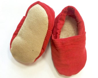 Red Corduroy Baby Shoes