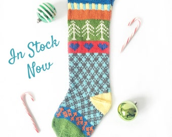 Hand Knit Christmas Stocking with White Trees, Blue Hearts, and Green Toe. READY TO SHIP!