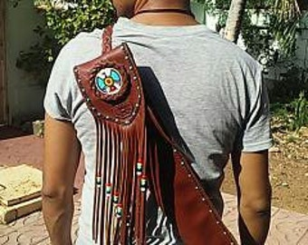 Native American Style Flute leather Bag