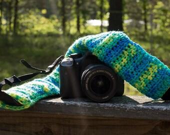 Blues & Yellows Crochet Camera Strap Slip Cover