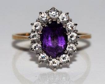 Vintage 9K 9ct Yellow Gold Amethyst CZ Oval Cluster ring size 6 1/4 ~ M