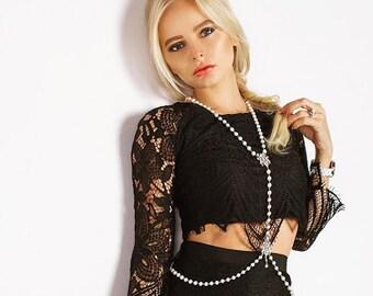 Pearl Bodychain, Body Jewelry, Beach Jewelry, Pearl Body Accessories