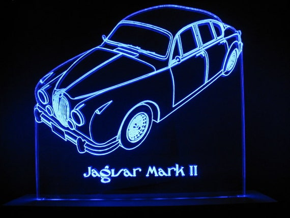 jaguar mark ii edge lit led acrylic light up sign desk model. Black Bedroom Furniture Sets. Home Design Ideas