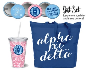 AXiD // Alpha Xi Delta // Sorority Gift Set // Includes Tote, Tumbler and Buttons