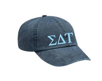 SDT Sigma Delta Tau Letters Hat Choose Your Colors Sorority Hat