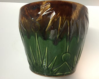 Vintage large Robinson Ransbottom sun and moon green and brown jardiniere