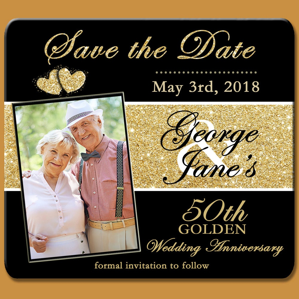 Golden Save The Date For Wedding Invitation Wedding: Save The Dates 50th Golden Anniversary Save The Date Magnet