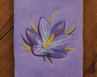 Watercolor Flowers - Embroidered Fingertip Towel with Crocus, Spring, Flower, Embroidered Towel