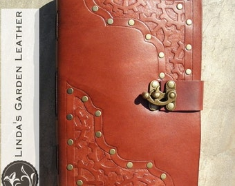 Handmade Leather Steampunk Journal or Sketchbook Swing Clasp