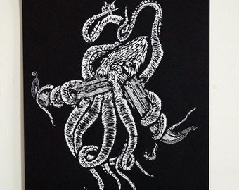 Kraken A3 Screenprint - vikings, mythology, screenprint, print, norse, octopus, kraken, boat