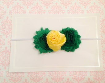 Baby Shower Gift, Wedding, Baby Girl, baby girl headband, handmade, custom Headband, shower gift, photo prop, elastic headband, Green yellow