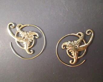 Earrings spiral earrings brass