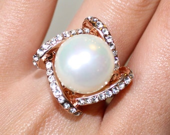 Italian Pavé Swirl Pearl Rose Gold Ring