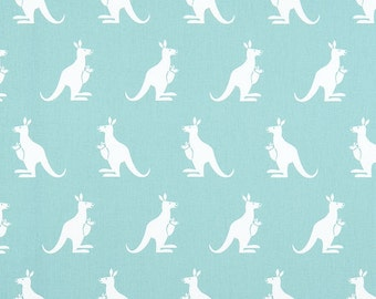 ON SALE!! Kangaroo Fabric - Canal / White Twill - Sold by the 1/2 Yard