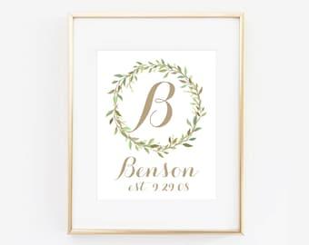 Family Name and Letter Custom Digital Wreath Art Print