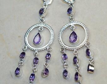 Amethyst  & 925 Sterling Silver Earrings by Silver Trend