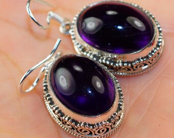Vintage Style Amethyst & 925 Sterling Silver Earrings by Silver Trend