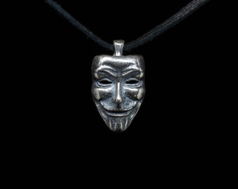 Anonymous Pendant, Guy Fawkes, V for Vendetta, sterling silver or silver plated brass, handmade ..... Occupy Pendant, Anonymous Mask