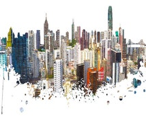 Skyline, Hong Kong Skyline, Urban Buildings, Urban Silhouette, Architecture, Cityscape, Print, Poster, Modern Art, Painting, Watercolor,