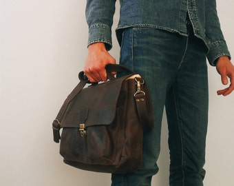 Handmade Brown LEATHER MESSENGER BAG /  Vintage/Casual Leather laptop bag by Made 4 Friends