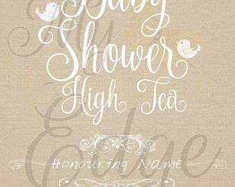 Digital Baby Shower Invitation - Birds