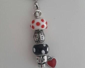 Polka Dot Keyring/keychain Live Love Laugh, Rockabilly Style