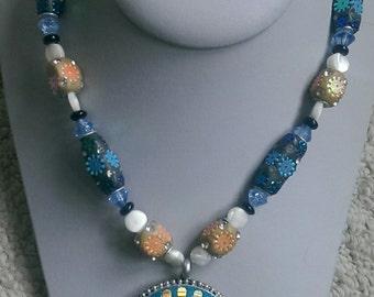 Blue Rhinestone Pendant Necklace