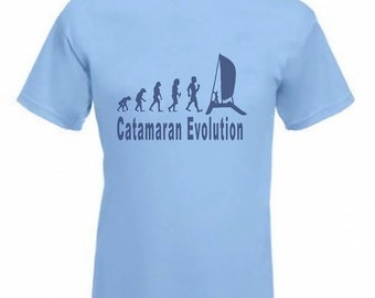 Evolution To Catamaran t-shirt Funny Sailing Boat T-shirt sizes Sm To 2XXL